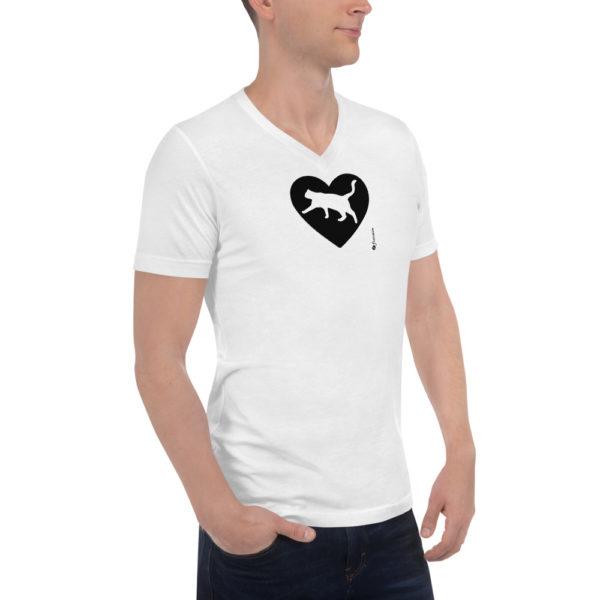 Cat Love - Unisex Short Sleeve V-Neck T-Shirt - Design by fANSIMON
