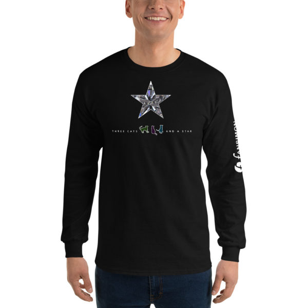 Three cats and a star - v2 - Men's Long Sleeve Shirt - Design by fANSIMON